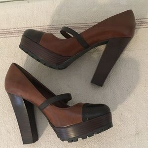 MIA Two Tone Brown Platform Mary Jane High Heels